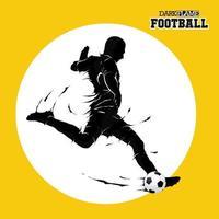 Fußballfußball, der dunkle Flammensilhouette aufwirft vektor