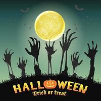 halloween zombie hand i en natt kyrkogård vektor