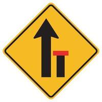 varningsskyltar höger körfält slutar på vit bakgrund vektor