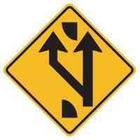 varningsskyltar lagt till körfält framåt på vit bakgrund vektor