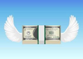 100 usd Banknote mit Vogelflügel, der im Himmel fliegt vektor