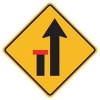 Warnschilder linke Spur endet auf weißem Hintergrund vektor