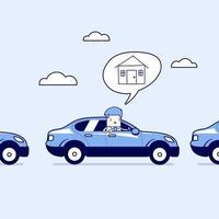 Geschäftsmann auf der Straße nach Hause mit dem Auto im Verkehr. Karikatur Charakter dünne Linie Stil Vektor. vektor
