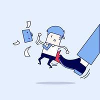 Geschäftsmann wird vom Chef getreten. Karikatur Charakter dünne Linie Stil Vektor. vektor