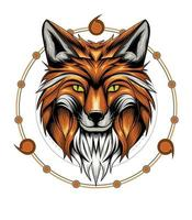 Fuchskopfillustration mit heiligem Geometriehintergrund vektor