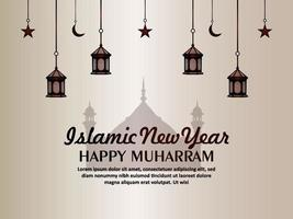 flache islamische Neujahrsglück muharram Einladungsgrußkarte vektor