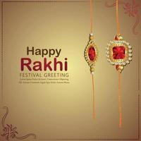 realistisk rakhi av glad raksha bandhan firande gratulationskort vektor