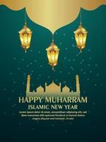 glückliches muharram islamisches neues Jahr mit goldener Laterne auf kreativem Hintergrund vektor