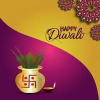 lycklig diwali firande gratulationskort med kreativ vektorillustration av diya vektor