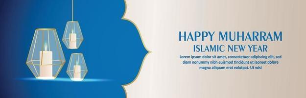 islamisk nyårsbakgrund med arabisk lykta vektor