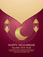 Frohes Muharram islamisches Neujahrseinladungs-Parteiflyer mit Goldmond und Laternen vektor
