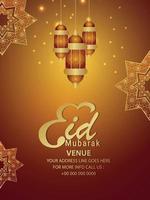 realistisk eid mubarak party flyer med arabiska mönster och lyktor vektor