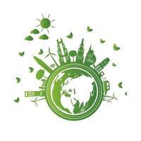 gröna städer med miljövänligt koncept vektor