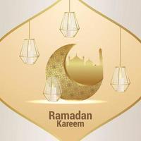 Vektor elegante Verzierung des islamischen Festivals Ramadan Kareem. Einladungsgrußkarte mit kreativem Hintergrund