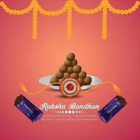 gratulationskort för raksha bandhan firande med kreativ vektorillustration och choklad vektor