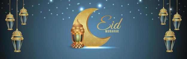 eid mubarak firande gratulationskort med kreativ vektorillustration vektor