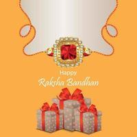 glad raksha bandhan festival av bror och syster inbjudningskort vektor