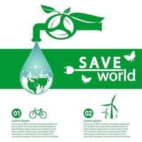 värld med miljövänligt koncept banner mall vektor