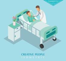 isometrisches Krankenhaus und medizinische Versorgung vektor
