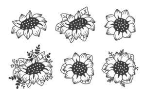 Satz niedliche Sonnenblumen eingestellt. handgezeichnete Illustration. vektor