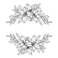 Lilie Beute. Blumenrand. Blumenrahmen. vektor