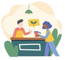 eine Frau, die in einem Café einen Becher anstelle einer Einwegbecher benutzt. flache Designart minimale Vektorillustration. vektor