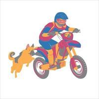 Motorradfahrer mit seinem Deutschen Schäferhund vektor