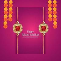 raksha bandhan inbjudningskort med gyllene kristall rakhi vektor