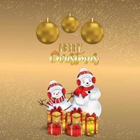 goldener Texteffekt für frohe Weihnachtsfeier-Grußkarte mit Schneemännern und Geschenken vektor