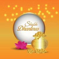 Shubh dhanteras inbjudningskort med kreativa guldmyntkruka på gul bakgrund vektor