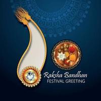 indiska festival gratulationskort med glada raksha bandhan firande gratulationskort vektor