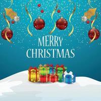 kreative Verzierung der frohen Weihnachtseinladungsgrußkarte vektor