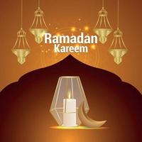 islamisk festival för ramadan kareem firande gratulationskort med kreativa lyktor vektor