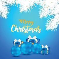 Gratulationskort för god jul med kreativa bollar på blå bakgrund vektor