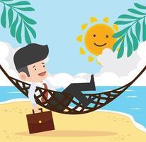 Geschäftsmann, der in der Hängematte am Strand entspannt vektor