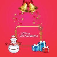 vektor illustration av god jul firande bakgrund med gåvor och snögubbar