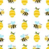 nahtloses Muster mit niedlichen Cartoonbienen und Bienenstöcken. vektor