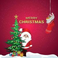 kreativ illustration av santa med julgran vektor
