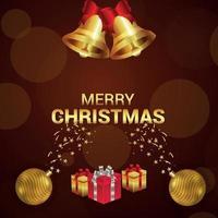 Frohe Weihnachten Einladungsgrußkarte mit goldenen Partykugeln und Geschenken vektor