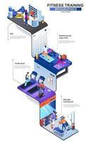 Fitness-Training moderne 3D isometrische Infografiken Design-Vorlage vektor