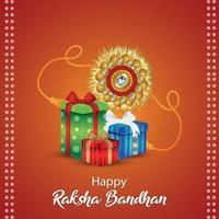 glückliche Raksha Bandhan Feier Grußkarte mit Geschenken vektor