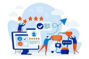 bestes Feedback-Webdesign-Konzept mit Personencharakteren vektor