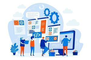 Entwicklerteam-Webdesign mit Personencharakteren vektor