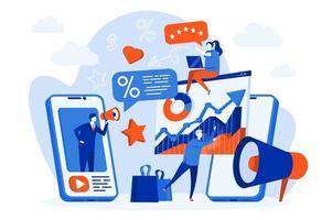mobil marknadsföring webb koncept med människor vektor