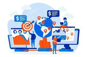 globales Business-Webdesign mit Personencharakteren vektor