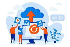 Cloud-Speicher-Webkonzept mit Personenzeichen vektor