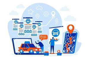 Taxi-Buchungs-Webdesign-Konzept mit Personencharakteren vektor