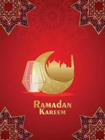 ramadan kareem bakgrund med gyllene arabisk lykta och måne vektor