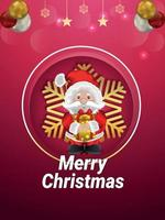 god jul inbjudan part affisch med jultomten vektor
