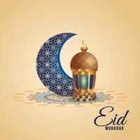 eid mubarak islamisk festfest med gyllene lykta och mönstermån vektor